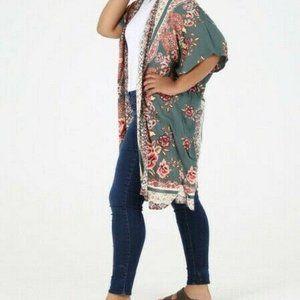 Angie Kimono Cardigan Floral Boho Peasant Plus